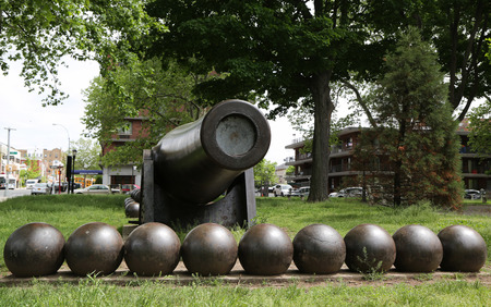 BROOKLYN, NEW YORK - MAY 20, 2015: 20 inch Parrott Cannon of 1864 as a Civil War Memorial in Bay Ridge area of Brooklyn, New York. It was the largest muzzle-loading cannon ever forged on US soil