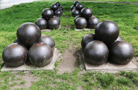 BROOKLYN, NY - MAY 20, 2015: Projectiles for US 20-inch Rodman cannon at the Civil War Memorial in Bay Ridge area of Brooklyn. 20-inch Rodman cannon was the largest muzzle-loading cannon ever built