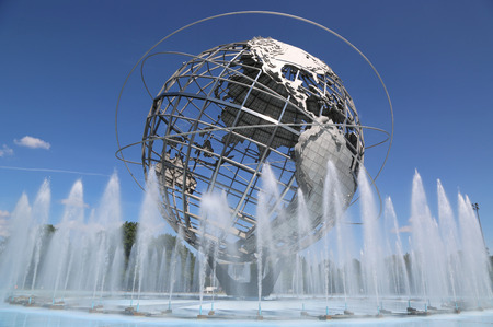 flushing: NEW YORK - AUGUST 18, 2014: 1964 New York World s Fair Unisphere in Flushing Meadows Park. It is the worlds largest global structure, rising 140 feet and weighing 700 000 pounds Editorial