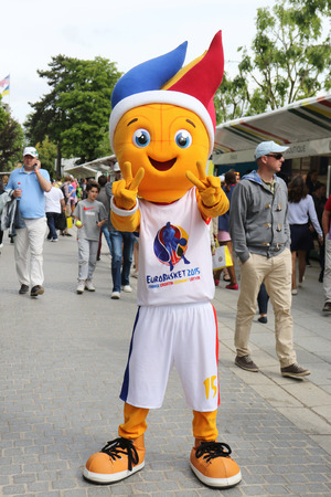 PARIS, FRANCE - MAY 28, 2015: Euro Basket 2015 mascot in Paris,France. FIBA EuroBasket 2015 will be the 39th edition of the EuroBasket championship running from 520 September 2015