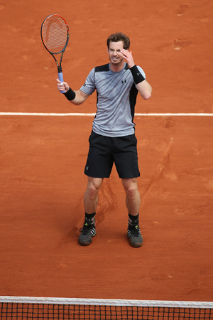 andy: PARIS, FRANCE- MAY 30, 2015: Grand Slam champion Andy Murray during third round match at Roland Garros 2015 in Paris, France Editorial