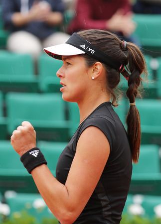 grand slam: PARIS, FRANCE- MAY 31, 2015: Grand Slam champion Ana Ivanovich in action during her fourth round match at Roland Garros 2015 in Paris, France