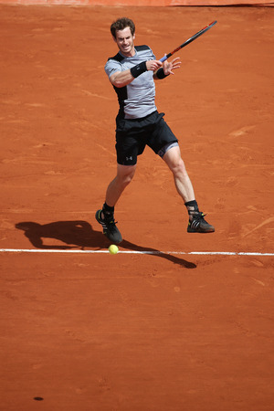grand slam: PARIS, FRANCE- MAY 30, 2015: Grand Slam champion Andy Murray during third round match at Roland Garros 2015 in Paris, France Editorial