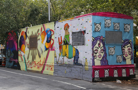 bowery: NEW YORK - JUNE 16, 2015: Mural art at Centre-fuge Public Art Project at Houston Avenue in Lower Manhattan.