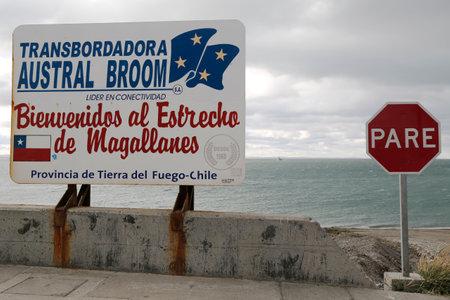 strait of magellan: BAHIA AZUL, CHILE - APRIL 3, 2015: Road sign Bienvenidos al Estrecho de Magallanes  or Welcome to Strait of Magellan near ferry crossing at Bahia Azul, Chile