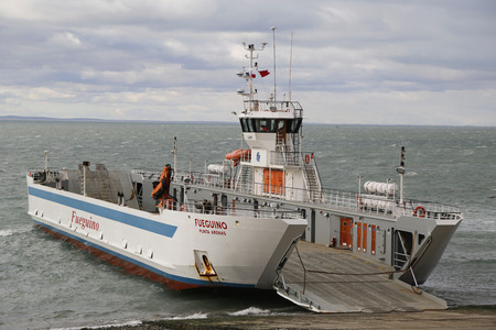 THE STRAIT OF MAGELLAN, CHILE - APRIL 3, 2015: Fueguino ferry at Bahia Azul, Chile. The ferry is the only way to cross the Straits of Magellan to join the islands of Tierra del Fuego