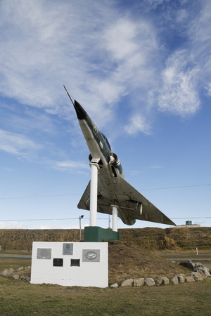 falklands war: RIO GRANDE, ARGENTINA - APRIL 3, 2015: Argentine naval jet at the monument to fallen soldiers of Falklands or Malvinas war in Rio Grande, Argentina. Editorial
