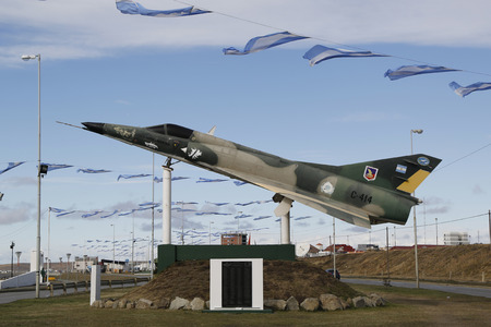 falklands war: RIO GRANDE, ARGENTINA - APRIL 3, 2015: Argentine naval jet at the monument to fallen soldiers of Falklands  Malvinas war in Rio Grande, Argentina.