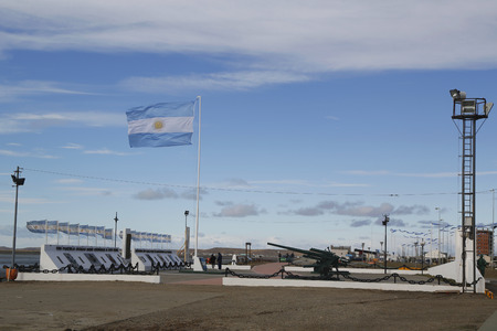 falklands war: RIO GRANDE, ARGENTINA - APRIL 3, 2015: Monument to fallen soldiers of Falklands  Malvinas war in Rio Grande, Argentina
