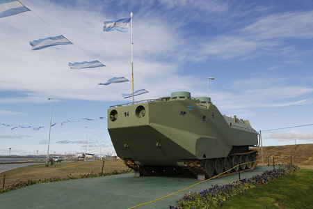 falklands war: RIO GRANDE, ARGENTINA - APRIL 3, 2015: Armored military vehicle at the monument to fallen soldiers of Falklands  or Malvinas war in Rio Grande, Argentina