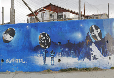 patagonian: BAHIA AZUL, CHILE - APRIL 3, 2015: Mural art inspired by Patagonian history near Strait of Magellan ferry at Bahia Azul, Chile Editorial