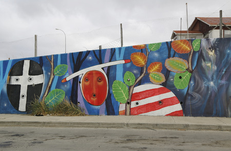 strait of magellan: BAHIA AZUL, CHILE - APRIL 3, 2015: Mural art inspired by Patagonian history near Strait of Magellan ferry at Bahia Azul, Chile Editorial
