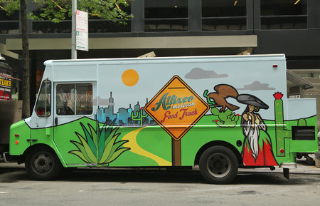 NEW YORK - JULY 9, 2015: Atlixco Mexican food truck in Midtown Manhattan. There are about 4,000 mobile food vendors licensed by the city