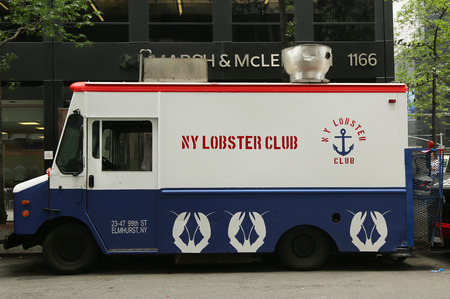 sea food: NEW YORK - JULY 9, 2015: NY lobster club food  truck in Midtown Manhattan. There are about 4,000 mobile food vendors licensed by the city