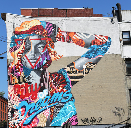dreams of city: NEW YORK - JULY 16, 2015: Mural art City of Dreams by Tristan Eaton in Little Italy Editorial
