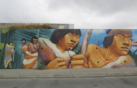 azul: BAHIA AZUL, CHILE - APRIL 3, 2015: Mural art inspired by Patagonian history near Strait of Magellan ferry at Bahia Azul, Chile Editorial