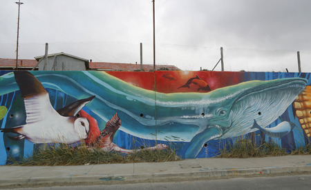 patagonian chile: BAHIA AZUL, CHILE - APRIL 3, 2015: Mural art inspired by Patagonian history near Strait of Magellan ferry at Bahia Azul, Chile Editorial