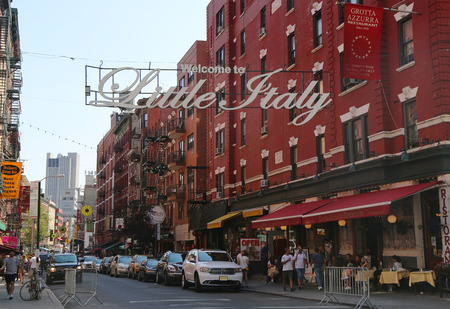 NEW YORK - JULY 17, 2015: Welcome to Little Italy sign in Lower Manhattan. Little Italy is an Italian community in Manhattan.