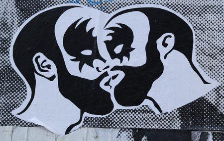 stencil art: NEW YORK - JULY 17, 2015: Stencil art in Lower Manhattan.
