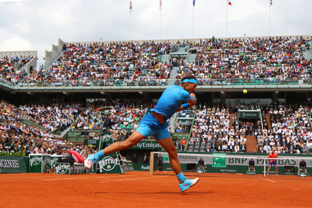 PARIS, FRANCE- MAY 26, 2015:Fourteen times Grand Slam champion Rafael Nadal during first round match at Roland Garros 2015 in Paris, France