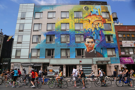 bicyclists: NEW YORK - AUGUST 8, 2015: Bicyclists at Lafayette Avenue during Summer Streets Saturday in New York. Summer Streets is an annual celebration of New York City s most valuable public space our streets
