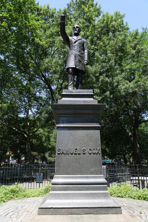 congressman: NEW YORK - JULY 16, 2015: Samuel Cox monument in Lower Manhattan. Samuel Sullivan Cox was an American Congressman and diplomat