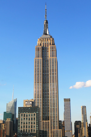 tallest: NEW YORK - AUGUST 1, 2015: Empire State Building close up. The Empire State Building is a 102-story landmark and was world s tallest building for more than 40 years.