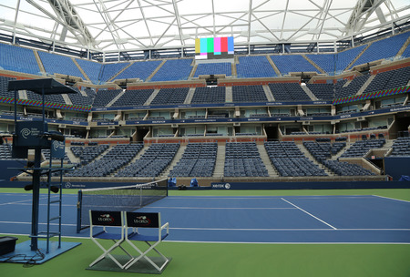 us open: NEW YORK - AUGUST 23, 2015: Newly Improved Arthur Ashe Stadium at the Billie Jean King National Tennis Center ready for US Open tournament  in Flushing, NY