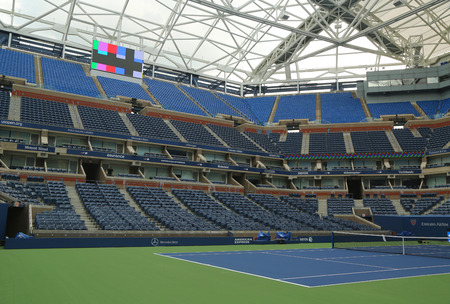 new and improved: NEW YORK - AUGUST 24, 2015: Newly Improved Arthur Ashe Stadium at the Billie Jean King National Tennis Center ready for US Open tournament  in Flushing, NY Editorial