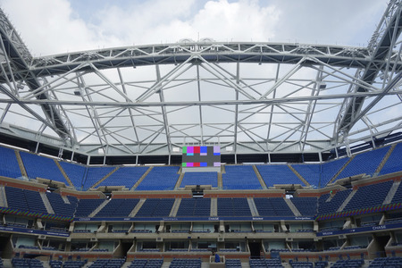 NEW YORK - AUGUST 24, 2015: Newly Improved Arthur Ashe Stadium at the Billie Jean King National Tennis Center ready for US Open tournament  in Flushing, NY 新聞圖片