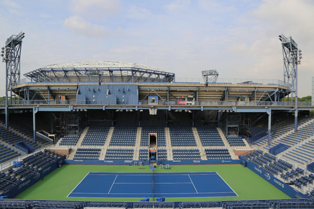 us open: NEW YORK - AUGUST 23, 2015: Grandstand Stadium at the Billie Jean King National Tennis Center ready for US Open tournament  in Flushing, NY Editorial