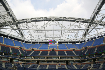 billie: NEW YORK - AUGUST 24, 2015: Newly Improved Arthur Ashe Stadium at the Billie Jean King National Tennis Center ready for US Open tournament  in Flushing, NY Editorial