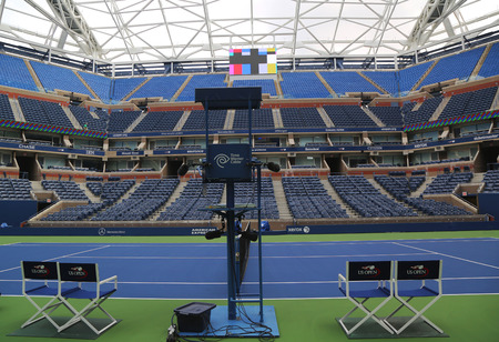 us open: NEW YORK - AUGUST 24, 2015: Newly Improved Arthur Ashe Stadium at the Billie Jean King National Tennis Center ready for US Open tournament  in Flushing, NY Editorial