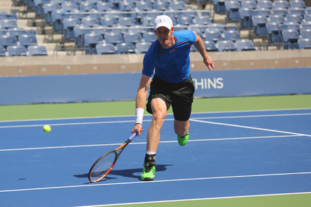 billie: NEW YORK - AUGUST 25, 2015: Grand Slam Champion Andy Murray practices for US Open 2015 at Billie Jean King National Tennis Center in New York