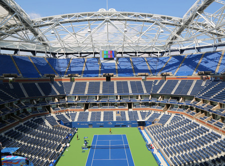 new and improved: NEW YORK - AUGUST 25, 2015: Newly Improved Arthur Ashe Stadium at the Billie Jean King National Tennis Center ready for US Open tournament in Flushing, NY Editorial