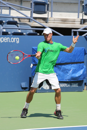 billie: NEW YORK - AUGUST 25, 2015:Two times Grand Slam Champion Lleyton Hewitt of Australia practices for US Open 2015 at Billie Jean King National Tennis Center in New York