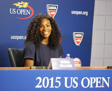 flushing: NEW YORK - AUGUST 27, 2015: Twenty one times Grand Slam champion Serena Williams during press conference at the Billie Jean King National Tennis Center before  US Open 2015 tournament in Flushing, NY