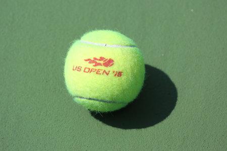wilson: NEW YORK - AUGUST 27, 2015: US Open Wilson tennis ball at Billie Jean King National Tennis Center in New York. Wilson is the Official Ball of the US Open since 1979