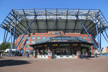 flushing: NEW YORK - AUGUST 27, 2015: Newly Improved Arthur Ashe Stadium at the Billie Jean King National Tennis Center ready for US Open tournament in Flushing, NY Editorial
