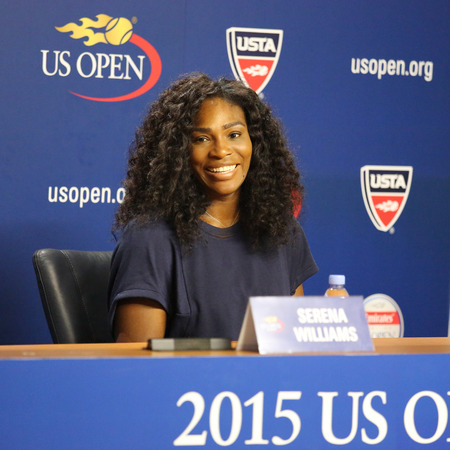 twenty one: NEW YORK - AUGUST 27, 2015: Twenty one times Grand Slam champion Serena Williams during press conference at the Billie Jean King National Tennis Center before  US Open 2015 tournament in Flushing, NY