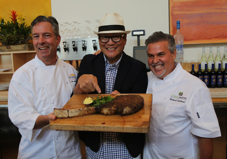 richard: NEW YORK - AUGUST 27, 2015: US Open executive chef Jim Abbey L,  Iron Chef Masaharu Morimoto and Celebrity Chef Richard Sandoval R during US Open food tasting preview in New York