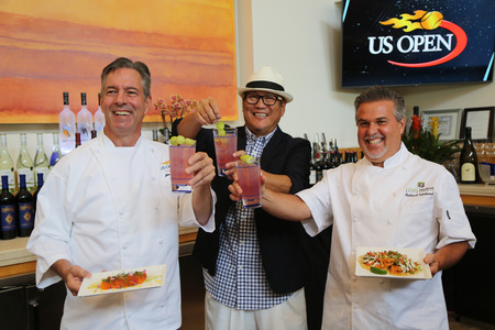 us open: NEW YORK - AUGUST 27, 2015: US Open executive chef Jim Abbey L,  Iron Chef Masaharu Morimoto and Celebrity Chef Richard Sandoval R during US Open food tasting preview in New York