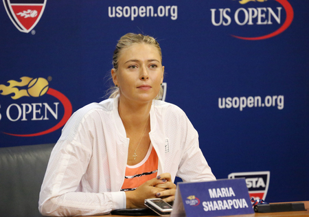 us open: NEW YORK - AUGUST 30, 2015:Five times Grand Slam Champion Maria Sharapova during press conference before US Open 2015. Next day Maria withdraws from US Open with leg injury.