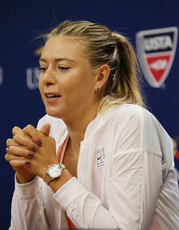 grand slam: NEW YORK - AUGUST 30, 2015:Five times Grand Slam Champion Maria Sharapova during press conference before US Open 2015. Next day Maria withdraws from US Open with leg injury.