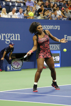 twenty one: NEW YORK - AUGUST 31, 2015: Twenty one times Grand Slam champion Serena Williams in action during first round match at US Open 2015 at National Tennis Center in New York