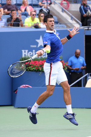 grand slam: NEW YORK - AUGUST 31, 2015: Nine times Grand Slam champion Novak Djokovic in action during first round match at US Open 2015 at National Tennis Center in New York