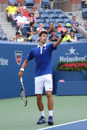 atp: NEW YORK - AUGUST 31, 2015: Nine times Grand Slam champion Novak Djokovic in action during first round match at US Open 2015 at National Tennis Center in New York