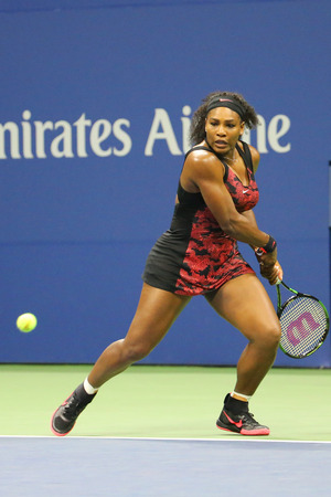 twenty one: NEW YORK - SEPTEMBER 8, 2015: Twenty one times Grand Slam champion Serena Williams in action during her quarterfinal match against Venus Williams at US Open 2015 at National Tennis Center in New York Editorial