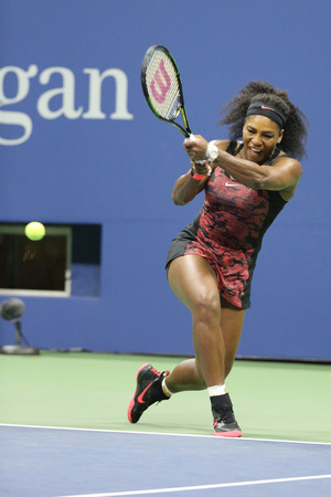 grand slam: NEW YORK - SEPTEMBER 8, 2015: Twenty one times Grand Slam champion Serena Williams in action during her quarterfinal match against Venus Williams at US Open 2015 at National Tennis Center in New York Editorial