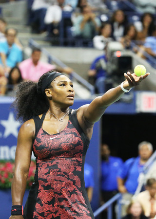 williams: NEW YORK - SEPTEMBER 8, 2015: Twenty one times Grand Slam champion Serena Williams in action during her quarterfinal match against Venus Williams at US Open 2015 at National Tennis Center in New York Editorial